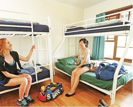 Dvě studentky v hostelu