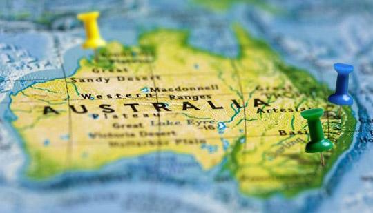 Fotografie mapy Austrálie