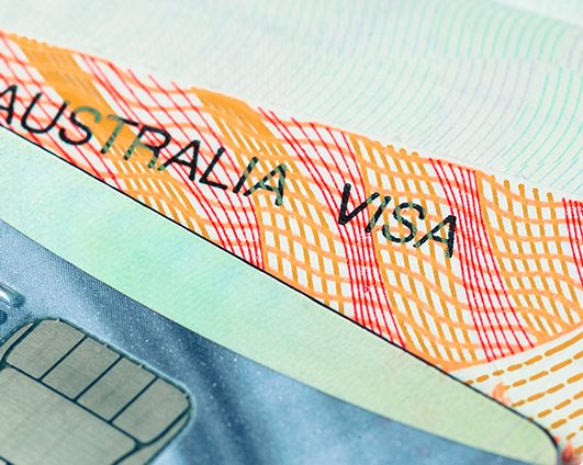 Detail kreditní karty a cestovního víza do Austrálie